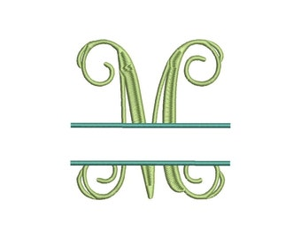 Split Vine Monogram Font Machine Embroidery Monogram BX Alphabet Designs 5 Size Embroidery Fonts - INSTANT DOWNLOAD