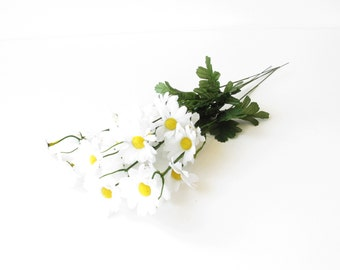 """SALE -40%  5 Daisy Branches Artificial Flowers Silk Windflower Bouquet Daisies Bush White Green Yellow 2"""" Floral Accessory Faux Fake"""