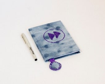 FAST FORWARD Button,  Journal, Notes , Diary, Notebook, Recycled Jeans, Hand embroidery, recycled denim, fabric covered journal