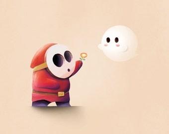 Mario Print / Shy Guy & Boo
