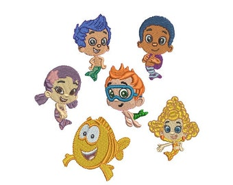 Set of 6 Miniature Bubble Guppies - Instant Download