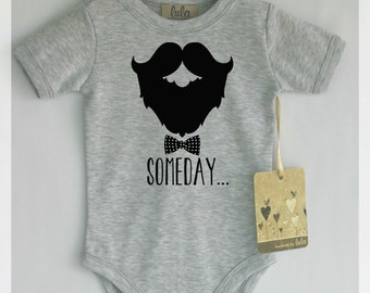 Funny baby boy clothes. Baby boy beard bodysuit. Bow baby romper. Baby boy cute clothes. Many colors available.