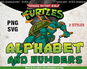 SALE Teenage Mutant Ninja Turtles Alphabet and Numbers Clipart TMNT Clip Art png Transparent SVG Cutting High Resolution 300dpi Letter Sized