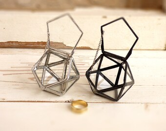 Wedding Ring Box, Hinged & Lidded. A Mini Icosahedron Glass Terrarium, Use As Your Jewelry Box, Ring Bearer Box Or a Wedding Ring Holder