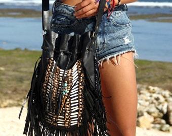 ON SALE Black leather bag, boho handbag, large size, bohemian, fringe shoulder bag