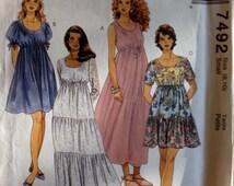 McCalls 7492 - Boho Scoop Neck Dress with Drawstring Raised Waist - Size 8 10