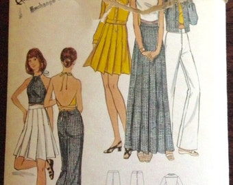 Butterick 6649 - 1970s Mary Quant Banded Collar Jacket, Maxi or Mini Length Pleated Skirt, and Pants - Size 10 Bust 32.5