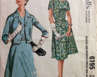 McCalls 6195 - 1960s Dress with Six Gore Skirt and Notched Collar Jacket - Size 42 Bust 44