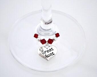 Great Aunt Wine Glass Charm - Swarovski Crystal - Great Aunt Birthday Gift - Great Aunt Birthday Present - Gift for Great Aunt - Aunt Gift