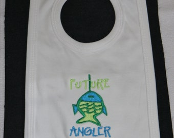 """White baby's bib for the """"future Angler"""" with fish motif"""