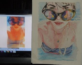 portrait painting, watercolor portraiture, portrait, portrait painting handmade