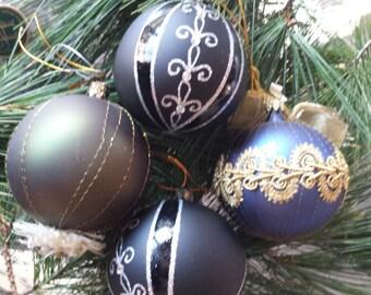 Vintage Christmas Ornaments Mercury Glass Czech and German Hand Blown by Glass artisans  - 4 Pieces 1990s D350-2