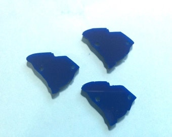 1.25 Inch Two Hole South Carolina Blanks in blue, wire bangle bracelets and jewelry making, South Carolina, South Carolina jewelry