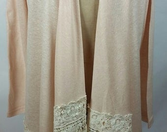 lace and cotton cardigan. vintage lace cardigan. vintage lace clothing.