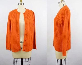 "XS-M • 1970's • ""It's Pure Gould"" Burnt Orange Cardigan Sweater"