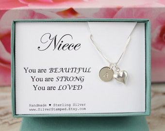 Gift for Niece silver necklace, Unique gift, Sterling silver, Personalized monogram initial dainty necklace You are Loved box gift box