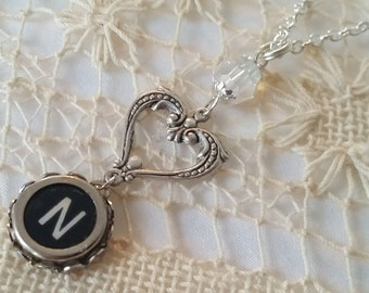 N Typewriter Key Necklace, Letter N Pendant, Heart Necklace, Valentine's Day, Antique Crystal and Key Initial N Jewelry, Love Gift for Her
