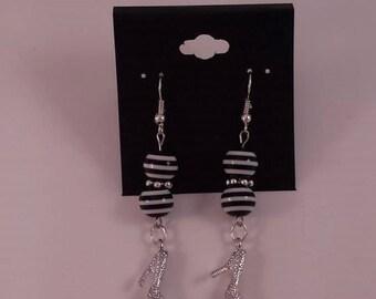 Earrings - black and white heels