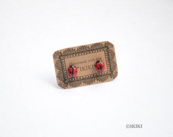 Tiny Ladybug Studs, Miniature Ladybug Stud Earrings, Polymer Clay Ladybug Earrings, Ladybug Jewelry, Tiny Polymer Clay Bug Jewelry
