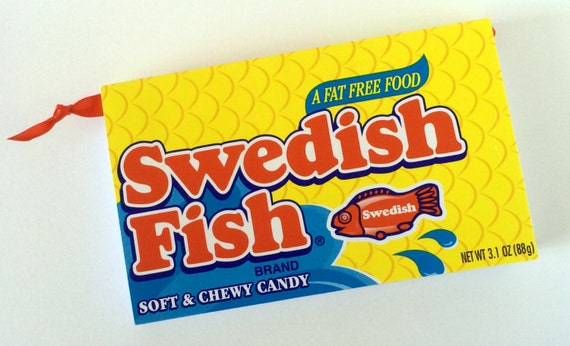Swedish fish recycled candy box journal or notebook upcycled for Swedish fish box