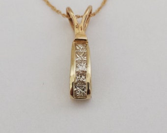 14k Gold Diamond Necklace, Diamond Necklace
