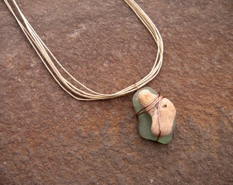 Sea glass necklace with stone, beach pebble, layered pendant, beach glass, beach treasures copper wire wrap, nature inspired jewelry, stone