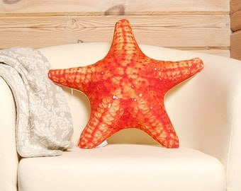 Starfish Pillow –  beach wedding decor,  beach house nautical decor, starfish print on cushion