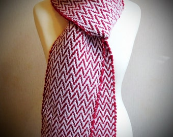 Handwoven hot red scarf chevron woven scarf, chunky scarf, long scarf