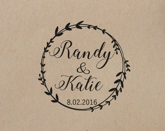 Wedding  Stamp Wreath Personalized Wedding Stamp  Wedding Rubber Stamp Mounted with Wood Handle