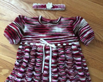 Knitted Baby Dress, Going Home Outfit, Knitted Dress, Headband, 9-12 mths, Knitted Baby Clothes, Birthday, Baby shower, Gifts for Baby Girl
