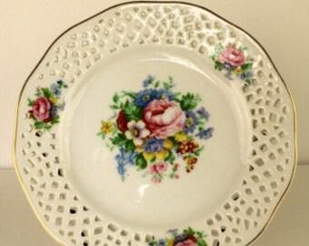 Pierced Porcelain Floral Plate
