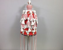 African Yoruba Beaded Crown Red  White Beaded Birds Nigeria Handmade Hand Beaded Hat Kings Adornment Statement