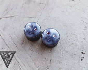 Smiling moon plugs image ear wooden gauges 4,5,6,8,10,11,12,14,16,18,20,22,25-60mm;6,4,2g,0g,00g;1/4,5/16,3/8,1/2,9/16,5/8,3/4,7/8,1 1/4""