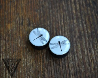 Pair plugs Dragonfly image wooden ear tunnels ,4,5,6,10,11,12,14,16,19-60mm;6g,4g,2g,0g,00g;1/4,5/16,3/8,7/16,1/2,9/16,5/8,3/4,7/8,1,1 1/4""