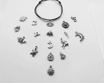 Charm Anklet Adjustable Cord -Sun / Elephant / Hamsa Hand / Heart / Turtle / Lotus / Sunflower / Pegasus / Buddha / Wing / Ohm / Moon