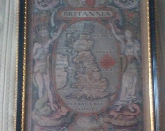 """1637 Copper engraving Plate Map of William Camdens """"Britannia"""" very rare 3rd Edition Includes letter of Authenticity from Baynton Williams"""