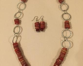 Beautiful Carnelian Stone Disks Necklace