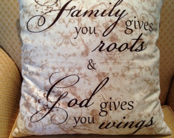 Family Gives You Roots Pillow Cover in Brown