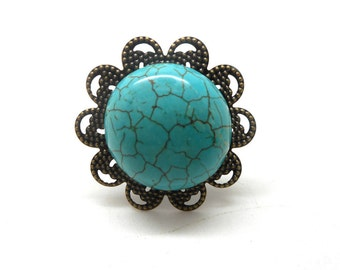 Bronze cabochon flower imitation turquoise ring