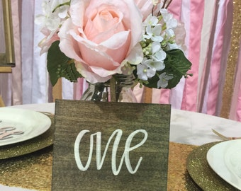 Hand lettered Wooden, Table numbers-Set of 6