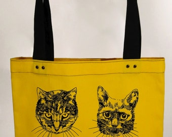 Cats - yellow hand screen printed cotton canvas tote bag