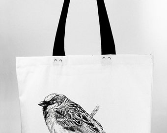 Sparrow - hand screen printed cotton canvas tote bag
