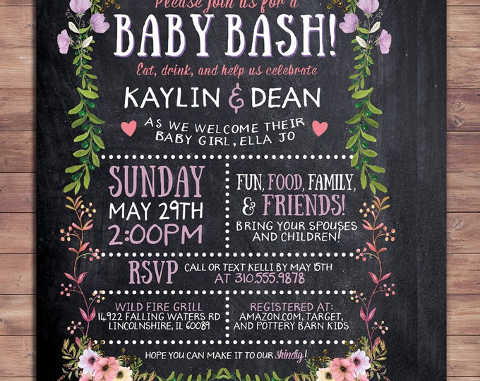 Floral, rustic, BOHO, BabyQ chalkboard couples co-ed Baby Shower BBQ invitation - babyq - boy girl- baby is brewing, baby girl shower