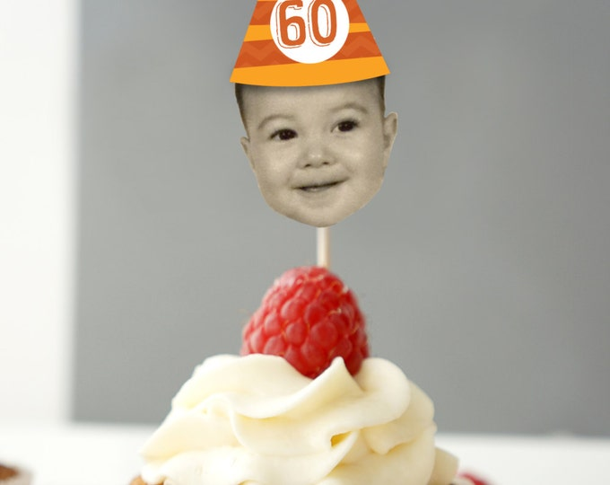 ANY COLOR, Photo Cupcake Toppers (Birthday Hat Design) Digital File - Color Coordinated with your Party Scheme, 30th, 40th, 50th, 60th, 70th