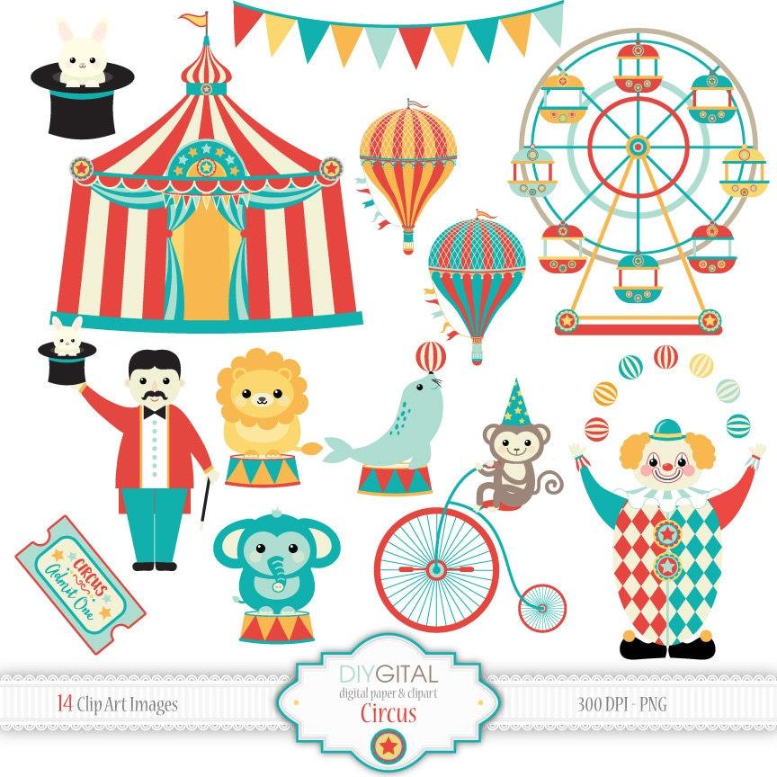 Circus clip art carnival clipart clown lion elephant - Clipart carnaval ...