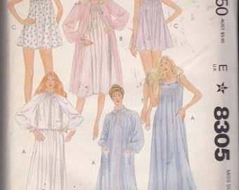 NEW & UNCUT, Vintage McCalls 8305 Jana Johnson Sleepwear pattern, Misses sizes S and M - Babydolls, Bed Jacket, Nightgown, Robes, Smocking