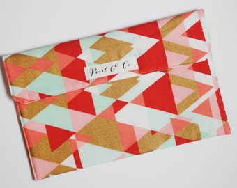 Diaper Clutch - Coral, Mint, & Gold Geometric Triangles with Metallic Gold Plus Signs / Swiss Cross - Diaper and Wipes Case - Diaper Pouch