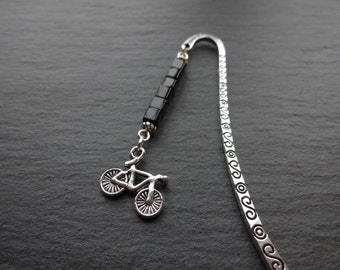 Bicycle Bookmark, Beaded Bookmark, Black & Silver, Bike Charm Bookmark, Bike Bookmark, Bike Gift, Gift For Cyclists, Bicycle Gift