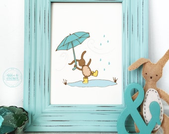 Kids Wall Decor, Rainy Day Trouble, Wall Decor, Bunny Print
