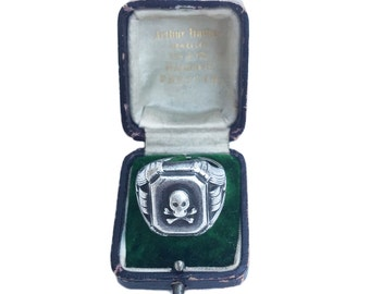 Art Deco Sterling Silver Doctor's Skull And Crossbones Ring, Memento Mori Ring
